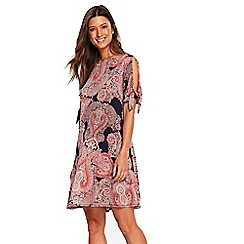 Wallis - Cream cold shoulder paisley swing dress