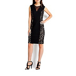 Wallis - Black v-neck lace panel dress