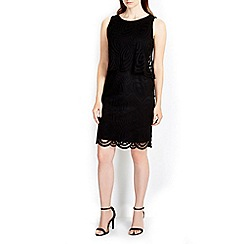 Wallis - Black geo lace pop top dress