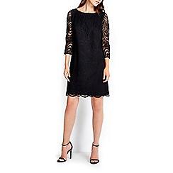 Wallis - Black geo lace 3/4 sleeve dress