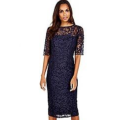 Wallis - Navy lace panel dress