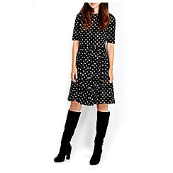 Wallis - Black sleeved jersey spot dress