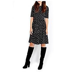 Wallis - Black sleeved jersey spot dress