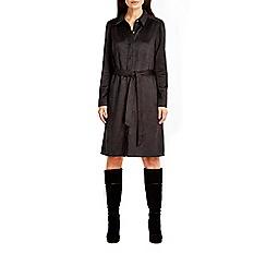 Wallis - Black suedette shirt dress