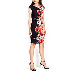 Wallis - Black poppy print wrap dress