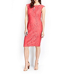 Wallis - Coral keyhole lace dress