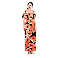 Wallis - Red floral printed overlay maxi dress