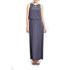 Wallis - Grey bar trim blouson maxi dress