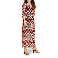 Wallis - Orange zig zag printed maxi