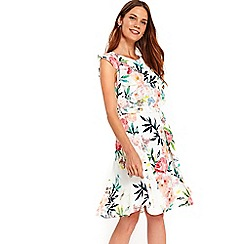 Wallis - Cream floral fit and flare dress