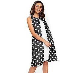 Wallis - Black spot split front dress