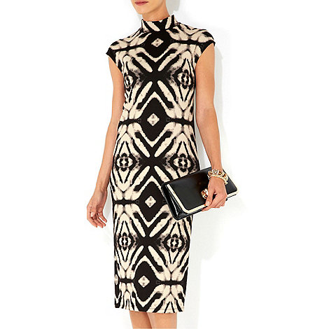 Wallis - Stone high neck printed midi dress