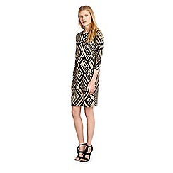 Wallis - Camel geo print jacquard dress