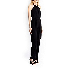 Wallis - Black gold bead halter jumpsuit