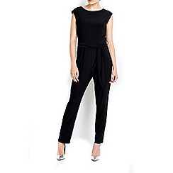 Wallis - Black obi belted jumpsuit