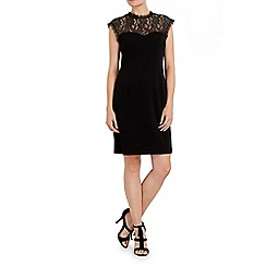 Wallis - Black hign neck lace yoke dress