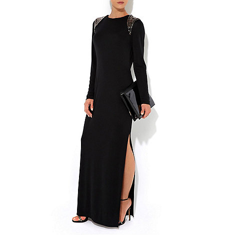 Wallis - W Collection - Black beaded shoulder maxi dress