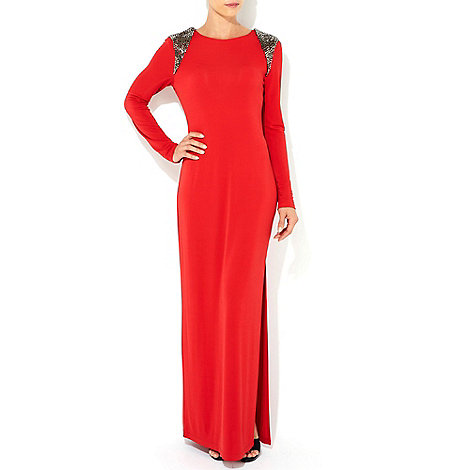 Wallis - Red beaded shoulder maxi dress