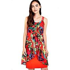 Wallis - Red tropical floral printed dress