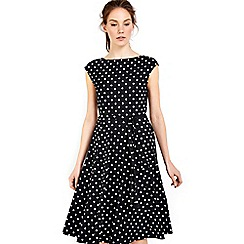 Wallis - Black spot fit and flare dress