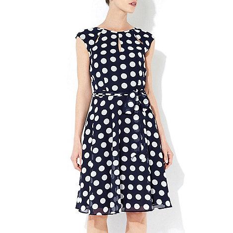 Wallis - Navy blue polka dot dress