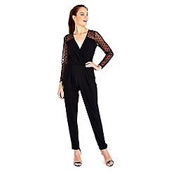 Wallis - Black spot mesh sleeve jumpsuit