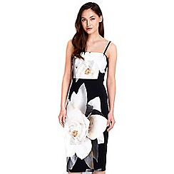 Wallis - Black floral printed strapless dress
