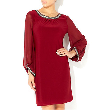 Wallis - Red embellished cuff and neck dress