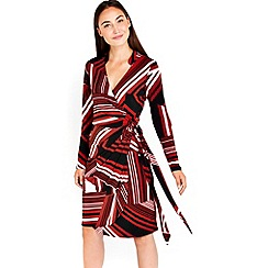 Wallis - Black geometric stripe wrap dress
