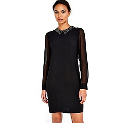 Wallis - Black embellished collar dress