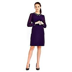 Wallis - Purple embellished collar dress