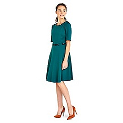 Wallis - Green belted fit and flare dress