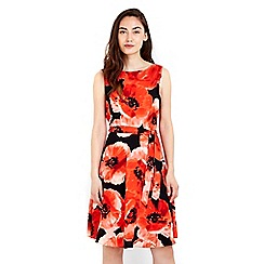 Wallis - Red satin floral print dress