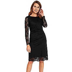 Wallis - Black ruched detail lace shift dress