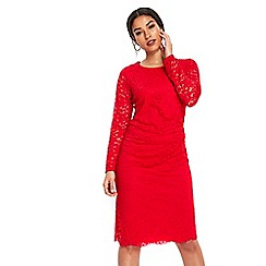 Wallis - Red ruched side lace shift dress