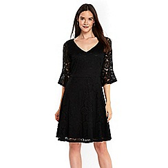 Wallis - Black flute sleeves lace fit and flare dress