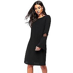 Wallis - Black crochet insert sleeve shift dress