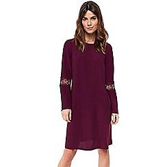 Wallis - Plum crochet insert sleeve shift dress