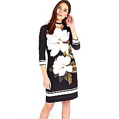 Wallis - Black and white large floral tunic dress