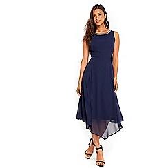 Wallis - Navy embellished asymmetric dress