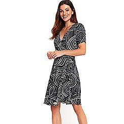 Wallis - Navy swirl print wrap dress