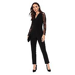 Wallis - Black embroidered mesh jumpsuit