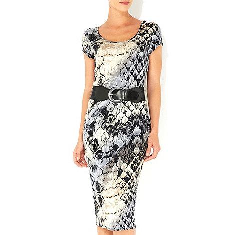 Wallis - Neutral snake print midi dress