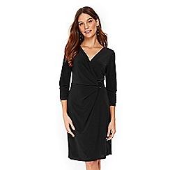 Wallis - Black ring jersey wrap dress