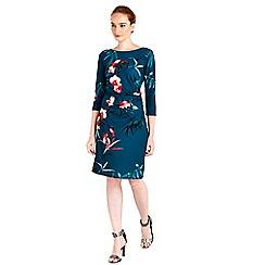 Wallis - Teal oriental ruche side dress