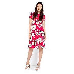 Wallis - Orange floral tie side fit and flare dress