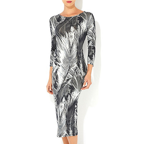 Wallis - Grey feather printed midi dress