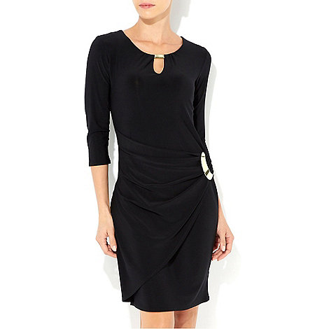 Wallis - Black ring 3/4 sleeve dress
