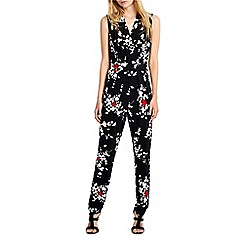 Wallis - Black blossom print jumpsuit