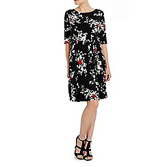 Wallis - Black blossom print fit and flare dress